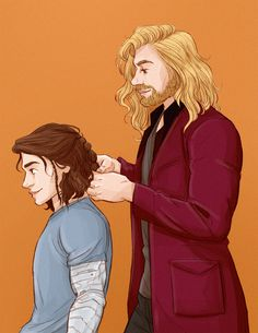 http://captainamerlca.co.vu/post/103919447085/illustratedkate-the-main-reason-i-wanted-bucky Bucky & Thor fan art | The main reason I wanted Bucky to be in AOU was so Thor could do his hair in a fancy Asgardian style to make all the other Avengers jealous