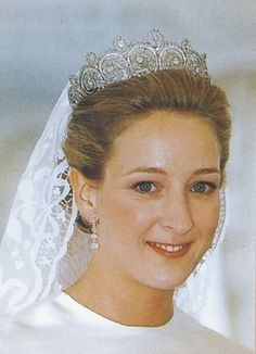 Princess Alexandra of Sayn-Wittgenstein-Berleburg, wearing the Khedive Tiara as all female descendants of Danish Queen Ingrid (her maternal grandmother) have done. Niece of current queen of Denmark.