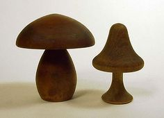 Vintage Carved Wood Mushrooms at OpOrb Gallery of Retro Modern Home Decor.