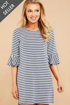 7 Classically Chic Blue Stripe Dress at reddressboutique.com