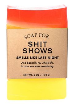 Buy Whiskey River Co: Soap - Shit Shows online and save! Whiskey River Co: Soap – Shit Shows Here we go again. Every time I think I've got it all together, I end up in another poorly-produced shit show. Creative Gifts, Cool Gifts, Fireball Shot, Whiskey River Soap, Kudos To You, Mens Soap, Funny Candles, Day Drinking, Vegan Soap
