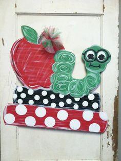 Bookworm Teacher Door Hanger by PlumCuteGifts on Etsy, $35.00