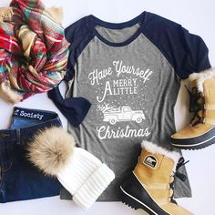 Fashion Christmas Women T-shirt Have Yourself A Little Merry Christmas  Letters Print O-Neck Autumn Girl Basic Gray Splicing Tops 3729c3739547