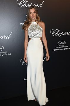 Pin for Later: The Very Best Style Moments From Last Year's Cannes Red Carpet Josephine Skriver Josephine Skriver showed off a satin slip dress that was finished with side cutouts and a printed halter neck. Josephine Skriver, Celebrity Red Carpet, Celebrity Style, Celebrity Dresses, Glamour, Victoria Secrets Angels, Cannes Film Festival 2015, Cannes 2015, Red Carpet Gowns