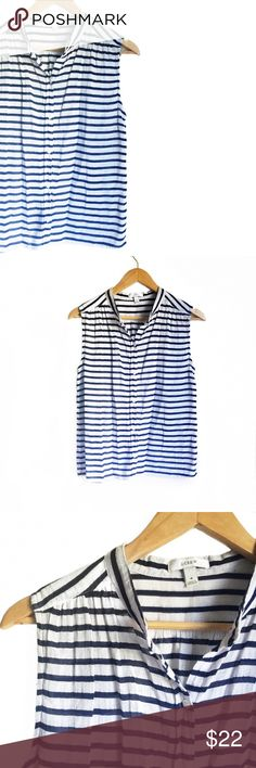 // J.C r e w • T o p • Sz 4 // J.crew blue and white stripe button down sleeveless top Sz 4. Very versatile and a great staple piece for any closet! J. Crew Tops Button Down Shirts