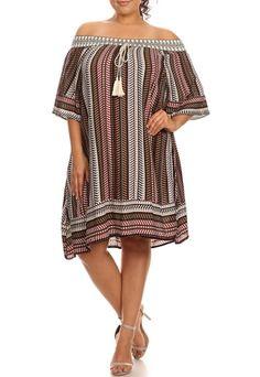 Description - Patterned stripe printed off the shoulder a-line dress with 3/4…