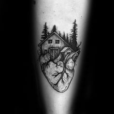 40 Log Cabin Tattoo Designs For Men - Dwelling Ink Ideas L Tattoo, Home Tattoo, Forearm Tattoo Men, Tattoo Drawings, Tattoos Arm Mann, Dad Tattoos, Arm Tattoos For Guys, Nature Tattoo Sleeve, Nature Tattoos