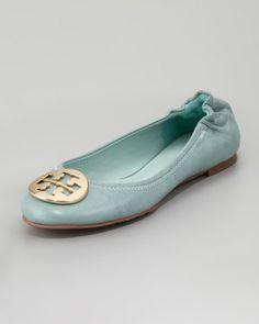 Tory Burch - Reva Tumbled Ballerina Flat, Sea Glass
