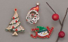 Whimsical fashion jewelry pins for Christmas!
