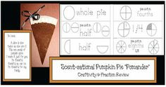 "Thanksgiving activities: FREE printables: The paper plate slice of ""pie"" is covered with cinnamon, cloves and pumpkin pie spice.  Your room smells fantastic when you make these as an interesting way to review fractions.  Includes fraction cards for explaining, reviewing or assessing."