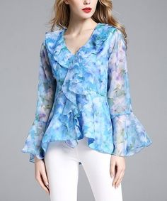 $24.99 Blue Floral Ruffle Top - Plus Too on #zulily! #zulilyfinds