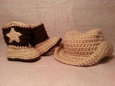 Baby Cowboy Hat & Boots Set  Crochet Newborn by WarmFuzzyBoutique, $43.99