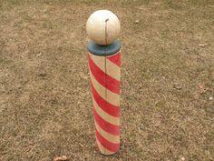 Antique Vintage Wood Barber Pole | eBay