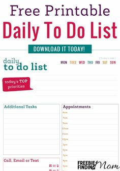 Want to get more organized? A great place to start is with this free printable daily to do list. This little freebie will help you remember the day's tasks, appointments, people you need to contact, and other important notes to ensure nothing is forgotten and the day ahead is smooth sailing.