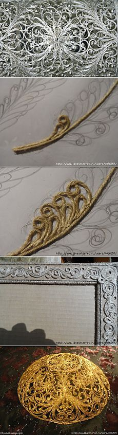 Intricate scroll designs with twine and spray paint Hobbies And Crafts, Diy And Crafts, Arts And Crafts, Jute Crafts, Paper Crafts, Craft Projects, Projects To Try, Rope Art, Sisal