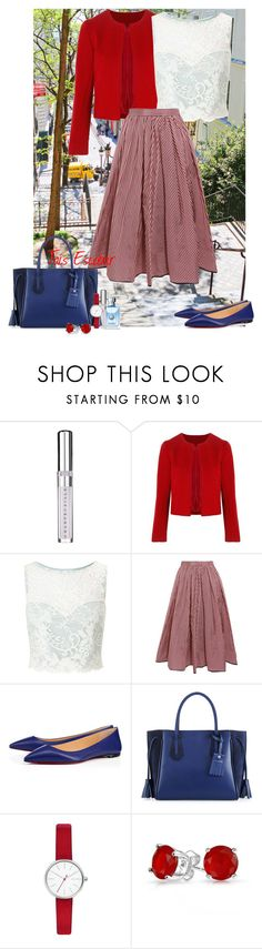 """""""Red day :)"""" by tais-escobar ❤ liked on Polyvore featuring Fraiche, Chantecaille, Related, Miss Selfridge, Tome, Christian Louboutin, Longchamp, Skagen and Bling Jewelry"""