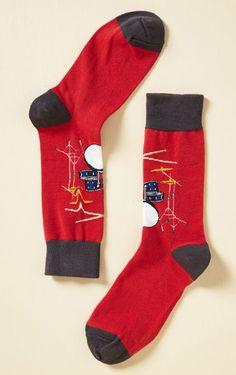 red music themed socks