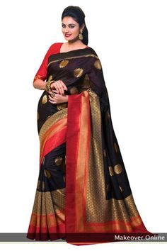 Black And Red Designer Kanchipuram Silk Saree: MEGH19: Makeoveronline.in
