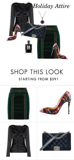 """""""Holiday Attire"""" by therealmodishmiss ❤ liked on Polyvore featuring Pierre Balmain, Christian Louboutin, Elizabeth and James, Chanel, Kilian, plaid, velvet and satin"""