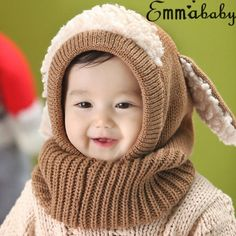 97aac7bf007 Winter Baby Hat Scarf Set Dog Style Woolen Cap Muffler for Infant ...
