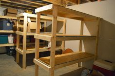 An Unfinished Basement Tour And How We Built Storage Shelves