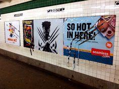 """Wolverine"" ""Director's Cut"" by Poster Boy NYC. | Guerrilla Artist Creates Brilliant  Subway Ad Installation"
