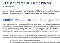 5 Lessons from 150 Startup Pitches --> http://www.pragmaticmarketing.com/resources/5-lessons-from-150-startup-pitches?p=0