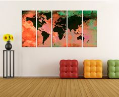extra Large abstract world Map Canvas wall art Print, Modern wall decoration, original canvas mid century wall decals home decor 754