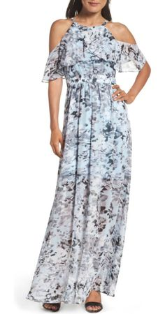 On SALE at 40.00% OFF! popover maxi dress by Vince Camuto. Fluttery chiffon dappled in grey watercolor fills this comfortable halter-neck maxi with modern romance.