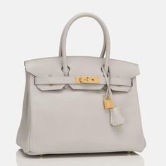 dfacdcdfc5ef Hermes Gris Perle Swift Birkin 30cm Gold Hardware  purse  leather   cutenamebrandpurses Leather Purses