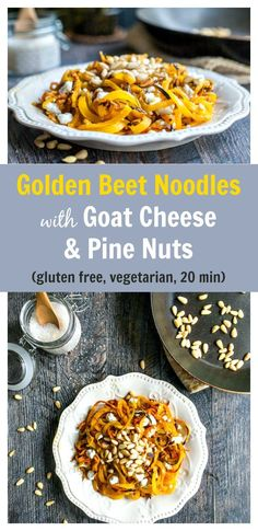 These golden beet noodles with pine nuts & goat cheese are the tastiest veggie noodles! Less that 20 minutes to make this gluten free & vegetarian dish. Vegetarian Dinners, Vegetarian Recipes, Healthy Recipes, Drink Recipes, Delicious Recipes, Healthy Cooking, Healthy Snacks, Healthy Eating, Healthy Life
