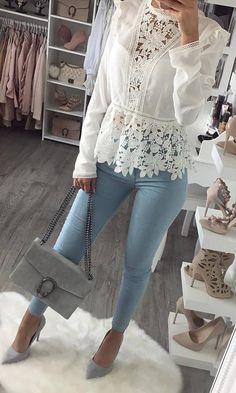 white blouse + skinny jeans + bag + heels