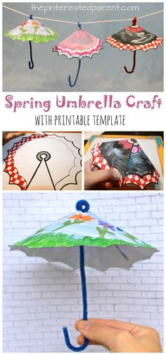 Spring Umbrella Craft with printable template. Color or paint and cut for this great spring and rainy day Arts and crafts for kids
