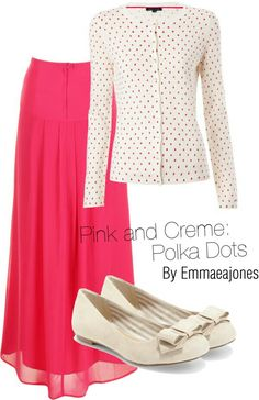 Pink and crram polka dots outfit