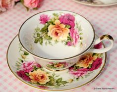 Vintage Style Sheltonian Bone China Pink and Yellow Roses Teacup and Saucer