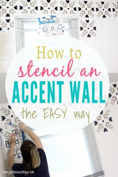 home accents diy Stenciling an accent wall has never been easier! Get the look of fancy wallpaper with just a stencil and some paint. This easy wall stencil tutorial will show you tips and tricks for painting a stencil on an accent wall. Wallpaper Stencil, Stencil Painting On Walls, Stencils For Walls, Stenciling Walls, Tile Stencils, Wall Stencil Patterns, Stencil Diy, Diy Wall, Wall Art