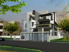 Shrinivasan's Residence - View of Front Elevation for Independent Bungalow by Ashwin Architects in Bangalore.    Call (+91)-(80)-26612520 for more information or visit http://www.ashwinarchitects.com