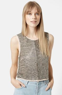 Topshop Sequin Shell Top available at #Nordstrom