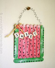 20 Sweet and Summery Watermelon Crafts & DIY Projects for kids of all ages! You're going to love making these easy projects with preschoolers and toddlers! Summer Crafts For Toddlers, Arts And Crafts For Teens, Diy Projects For Kids, Easy Crafts For Kids, Arts And Crafts Supplies, Diy Arts And Crafts, Diy Crafts, Summer Activities, Diy Popsicle Stick Crafts