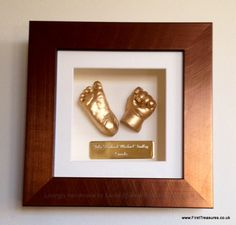 3d framed baby hand and foot cast by First Treasures