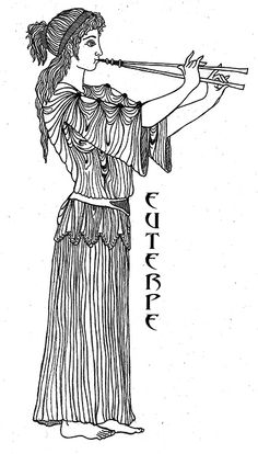 """Euterpe - the """"Giver of Pleasure"""" is the muse of Music and is represented with a Flute. It has been said she is the inventor of the double flute. Art by Katlyn Greek Mythology Tattoos, Greek Mythology Art, Roman Mythology, Muse Of Music, Greece Mythology, Roman Gods, Greek Gods And Goddesses, Greek Art, Ancient Greece"""