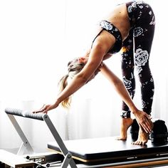 Stretch on reformer ~ wow! Cat-like gracefulness and control. Only #pilates #hotties can relate :->