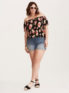 9f0367bc7c4 Rose Print Off Shoulder Top  Plus Size Clothing   TORRID