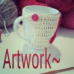 Crochet cup cozy.. Visit: https://www.etsy.com/shop/ArtworkHakeln