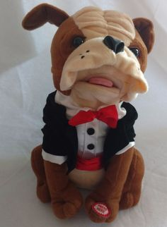 "Singing Animated Bull Dog Plush in Tuxedo 11"" Sings Christmas the Time of Joy #SantasBest"