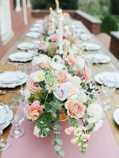 Floral Table Runner in Blush Pink and Mauve