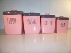 ✿ڿڰۣ(̆̃̃•Aussiegirl  Vintage pink kitchen canisters ... I MUST FIND THESE !!!