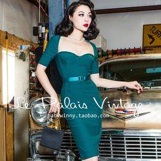 Le Palais Vintage,Green,Middle Sleeve,Corset Waist,Slim Dress