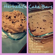 Herbalife Cake Bar Recipe: Use hand mixer and blend until batter is smooth and well blended: •	8 scoops Protein Drink Mix (I used vanilla)--> see website to order product •	2 med-lg bananas •	½ C creamy peanut butter •	¾ C egg whites  •	¼ tsp salt •	½ tsp baking soda   Stir in 4 Tbsp dark chocolate chips (min 60% cocoa)  Bake at 350 degrees for 25 min in greased 9x9 pan.   Enjoy   It tastes like cake, is super delicious, and keeps you on track for your goals as an awesome snack!
