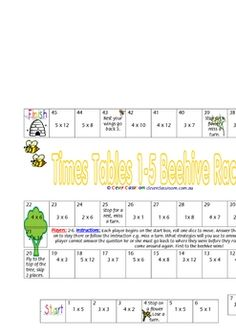 Multiplication Race Games x 3 - PDF file3 page file.3 fun games to learn times tables 1 through 12.Each game is on one page, ready to g...
